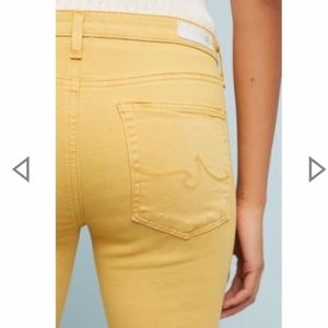 AG The Abbey Mid-Rise Skinny Ankle Jeans, yellow